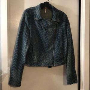 Free People Biker Style Blue Denim Jacket Size 12
